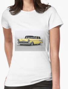 1957 Chevrolet Bel Air Wagon Womens Fitted T-Shirt