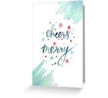 Cheers Merry christmas watercolor illustration Greeting Card