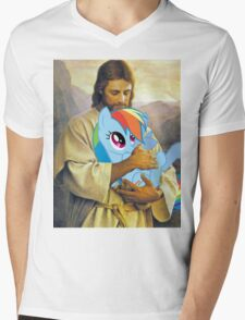Jesus Loves Rainbow Dash Mens V-Neck T-Shirt