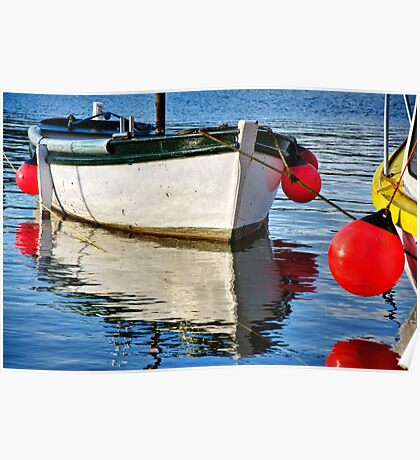 Small White Boat ~ Mousehole Harbour Poster