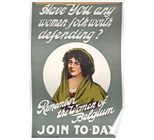 Have you any women folk worth defendingRemember the women of Belgium Join to day 221 Poster