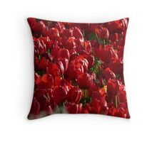 Tulip Field Tulips Red Strong Farbenpracht Throw Pillow