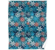 Multi-colored snowflakes form   Poster