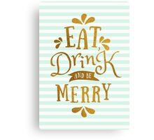 Mint Green Stripes and Gold Foil Text Design  Canvas Print