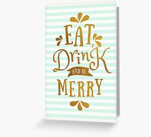 Mint Green Stripes and Gold Foil Text Design  Greeting Card