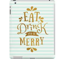 Mint Green Stripes and Gold Foil Text Design  iPad Case/Skin