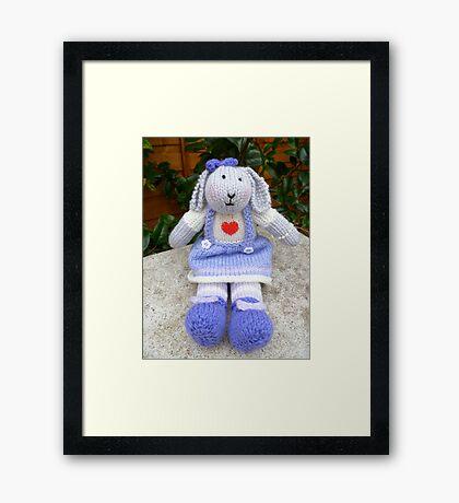 Hand Knitted  Girl  Rabbit Framed Print
