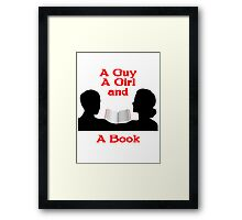 A Guy A Girl and A Book Framed Print
