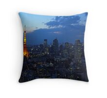 Tokyo skyline at evening Throw Pillow