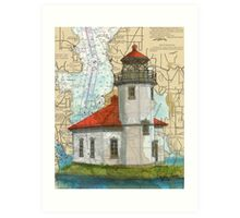 Alki Pt Lighthouse WA Nautical Chart Cathy Peek Art Print