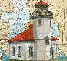 Alki Pt Lighthouse WA Nautical Chart Cathy Peek by Cathy Peek