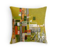 Olive green abstract III. Throw Pillow