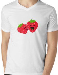 Strawberry Kiss Mens V-Neck T-Shirt