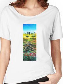 TUSCANY LANDSCAPE WITH POPPIES Women's Relaxed Fit T-Shirt