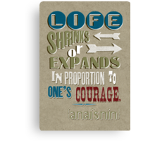 Life Shrinks or Expands Canvas Print