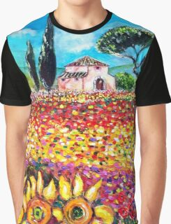 FLORA IN TUSCANY/ Flower Fields ,Poppies and Sunflowers Graphic T-Shirt