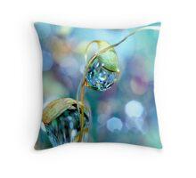 Rainbow Moss Drops Throw Pillow