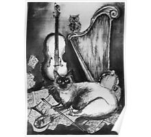 MUSICAL CAT AND OWL  Black and White Poster