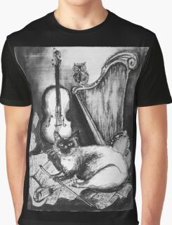 MUSICAL CAT AND OWL  Black and White Graphic T-Shirt