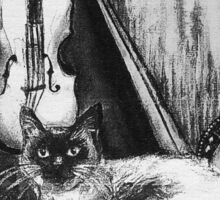 MUSICAL CAT AND OWL  Black and White Sticker