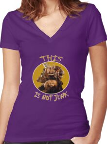 Labyrinth Junk Lady: This is Not Junk! The Bag Lady Women's Fitted V-Neck T-Shirt