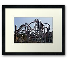 Roller coaster rides inside the Universal Studio Park in Sentosa in Singapore Framed Print