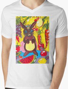 Yellow Rabbit Mens V-Neck T-Shirt