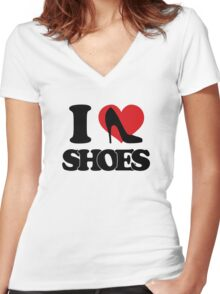 I love Shoes Women's Fitted V-Neck T-Shirt