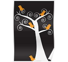 Five Orange Birds in a Tree Poster