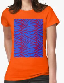 Tiger Stripes Blue and Pink Womens Fitted T-Shirt