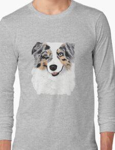 Toby ~ Australian Shepherd ~ Oil Painting Long Sleeve T-Shirt