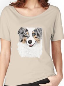 Toby ~ Australian Shepherd ~ Oil Painting Women's Relaxed Fit T-Shirt