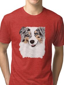 Toby ~ Australian Shepherd ~ Oil Painting Tri-blend T-Shirt