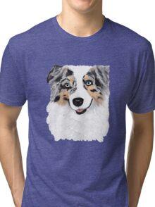 Toby ~ Australian Shepherd ~ Oil Painting Tri-blend T-Shirt