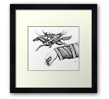 Flying Hussar surreal pen ink black and white drawing Framed Print