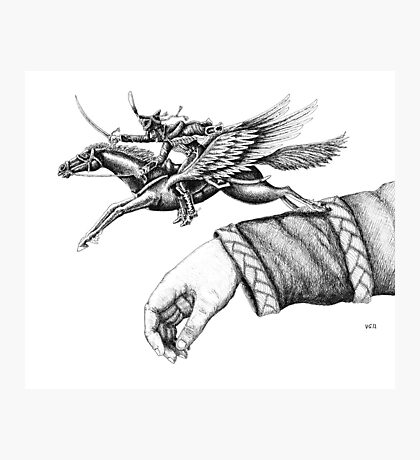 Flying Hussar surreal pen ink black and white drawing Photographic Print