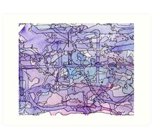 Blue & Purple Abstract Color Study Art Print