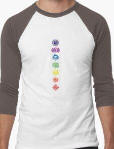 seven chakras vertical (dark tee) Men's Baseball ¾ T-Shirt