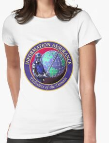 """NSA Information Assurance """"Defenders"""" Crest Womens Fitted T-Shirt"""