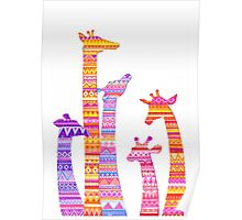 Giraffe Silhouettes in Colorful Tribal Print Poster