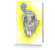 Anubis The Greyt with a Snood Greeting Card
