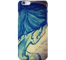 Lady on blue iPhone Case/Skin
