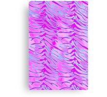 Tiger Stripes Blue, Pink and White Canvas Print