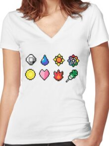 Indigo League Badges Women's Fitted V-Neck T-Shirt