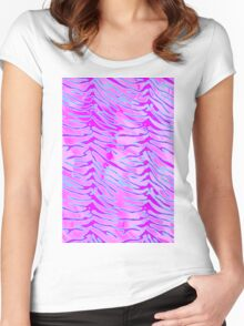 Tiger Stripes Blue, Pink and White Women's Fitted Scoop T-Shirt