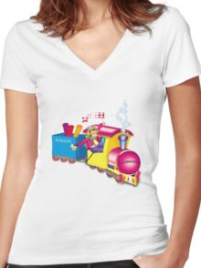 train and car Women's Fitted V-Neck T-Shirt