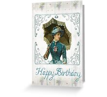 Vintage Victorian Lady With Parasol Birthday Design Greeting Card