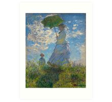 Woman with a Parasol by Claude Monet (1875) Art Print