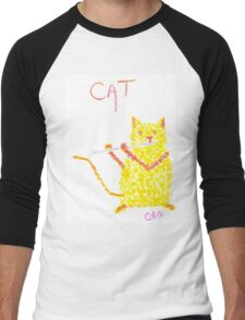 Yellow Cat Playing Flute Men's Baseball ¾ T-Shirt