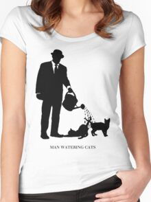 Man Watering Cats Women's Fitted Scoop T-Shirt